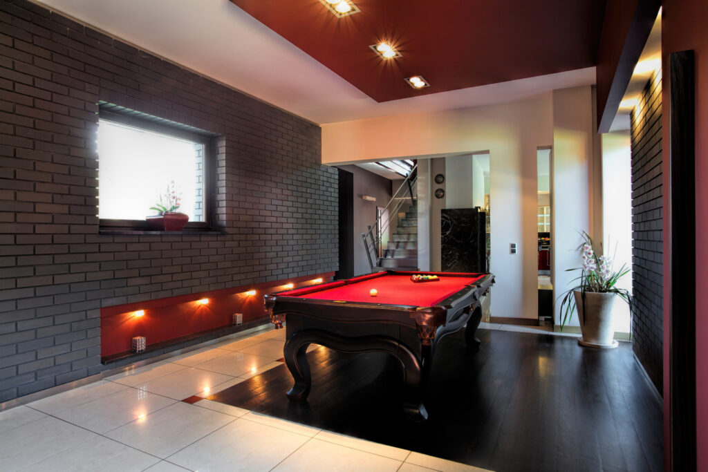 Basement Converted into a Pool Room